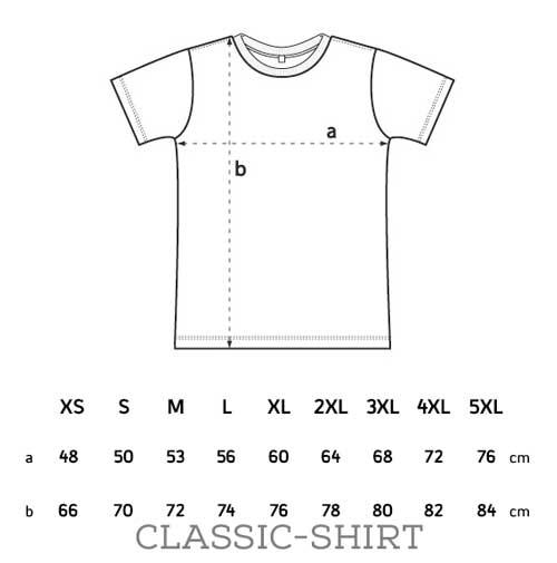 Größentabelle Male-Shirt Sondergrößen