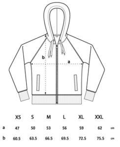Größentabelle Unisex-Hoodie-Zipper